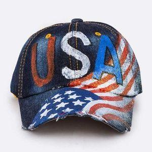Other - USA Printed Denim Hat